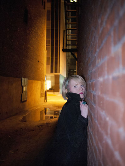 Alley Blonde City Life Clubbing Drinks Femme Fatale Film Noir Night Lights Night Photography Nightlife Nightphotography Noir People At Night Portrait Of A Woman Shadows & Lights She Walks In Beauty Shorthair Sitting Pretty Stare Urban