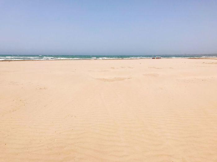 Sea Water Beach Land Sky Sand Horizon Over Water Horizon Copy Space Clear Sky Scenics - Nature