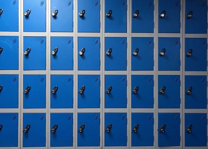 Full frame shot of blue blinds