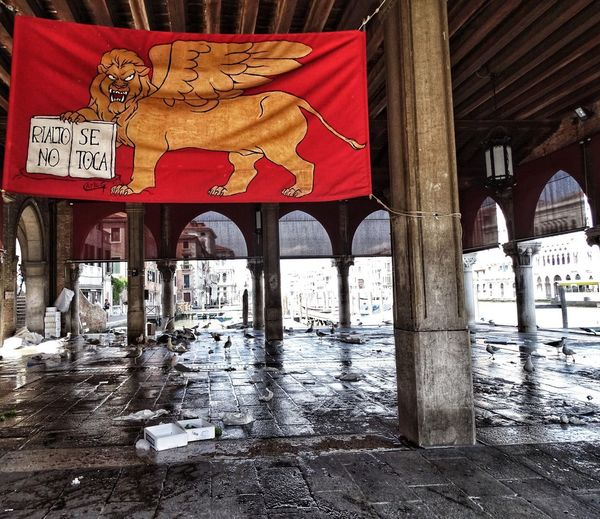 Rialto Market San Marco Lion Lion Seagulls Fish Market Flag