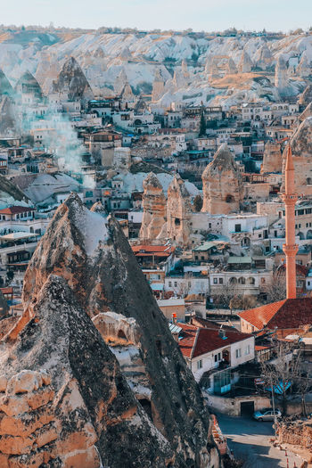 High angle view of buildings in city goreme cappadocia