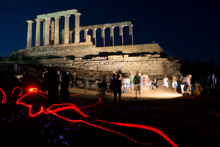 Poseidon Temple Lightpainted Ancient Black Blue Blue Sky Famous Place Greece Illuminated Large Group Of People LED Led Lights  Lightpainting Night Poseidon Sounio Sounion Souniongreece Temple