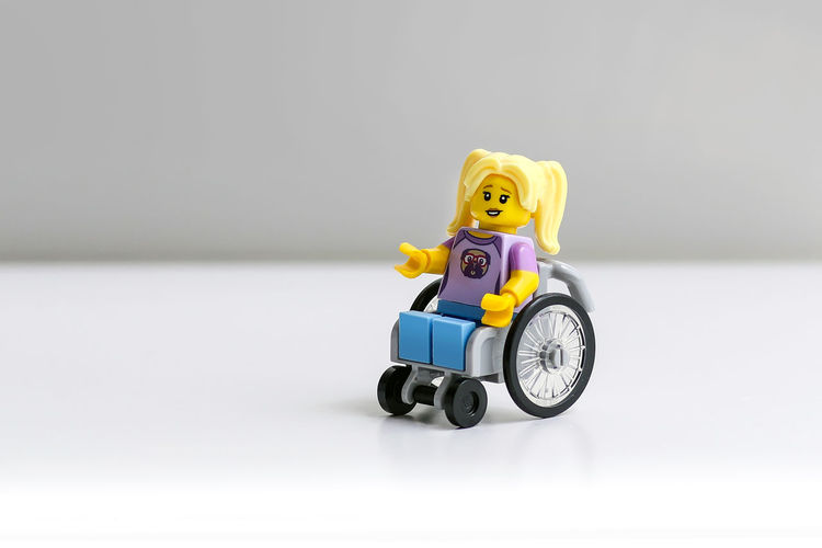 Wheelchair Lego Toy Studio Shot Gray Background Wheelchair LEGO Wheelchair Representation Wheelchair Access Wheelchairs Inclusiveness