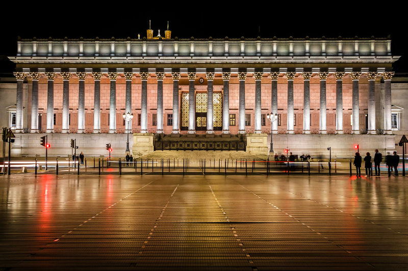 Illuminated Night Architecture Building Exterior Built Structure City Building Travel Destinations Travel Tourism Architectural Column Outdoors Justice Palais Lyon France Europe Canon Canonphotography