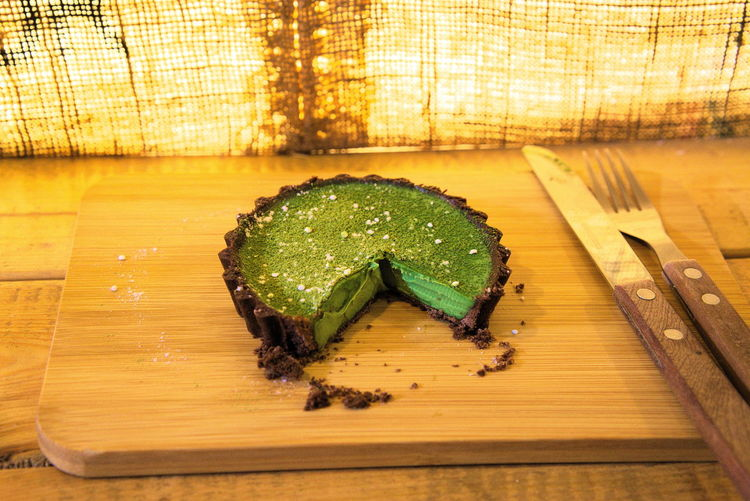 Macha Cake Taichung, Taiwan Cutting Board Day Food Food And Drink Freshness Healthy Eating Indoors  No People Ready-to-eat Table Wood - Material