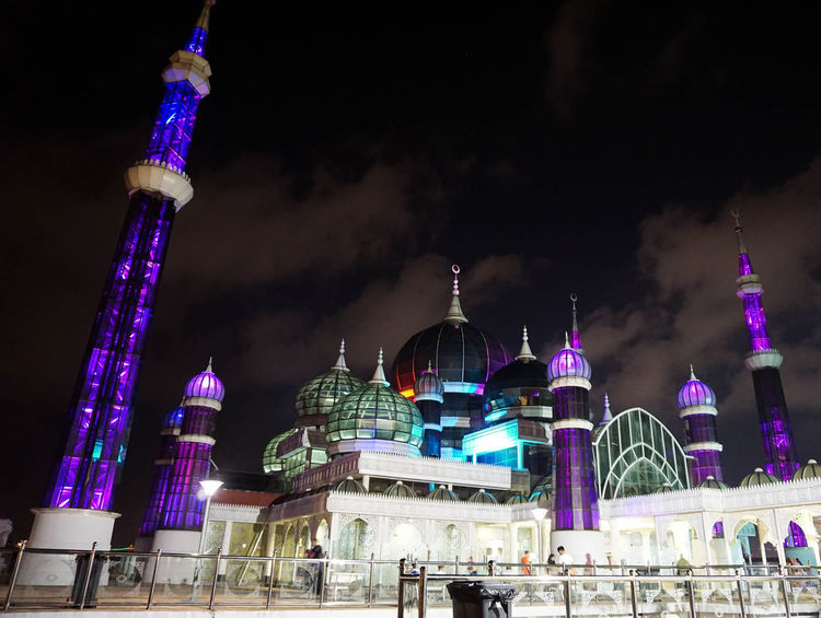 Crystal mosque in Kuala Terengganu, Malaysia Architecture Malaysia Truly Asia Nature Night Scene Nightphotography Pray Terengganu, Malaysia Building And Sky Building Exterior Colorful Crystal Crystal Mosque Islamic Architecture Kristal Malaysia Malaysianphotographer Masjid Religion