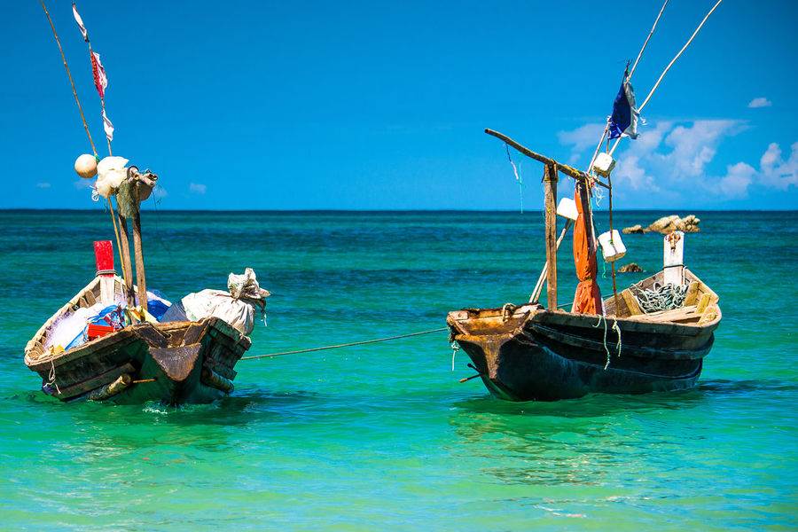 Bay Of Bengal Beauty In Nature Day Fisherboats  Horizon Over Water Indian Ocean Mode Of Transport Nautical Vessel in Ngapali Beach, Myanmar No People Outdoors Scenics Sea Sky Sommergefühle Transportation Water Waterfront