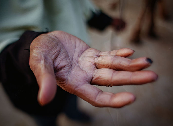 Affectionate Care Close-up Day Focus On Foreground Holding Human Finger Human Skin Person Personal Perspective Wrinkled