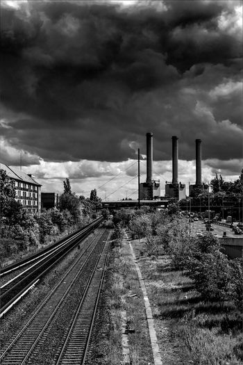 Periphery Railway Track Cloudscape Darkcloud Solitude And Silence Shades Of Grey Blackandwhite Tracklife Industry Sky Cloud - Sky Built Structure Architecture Dramatic Sky Train Atmospheric Mood Thunderstorm