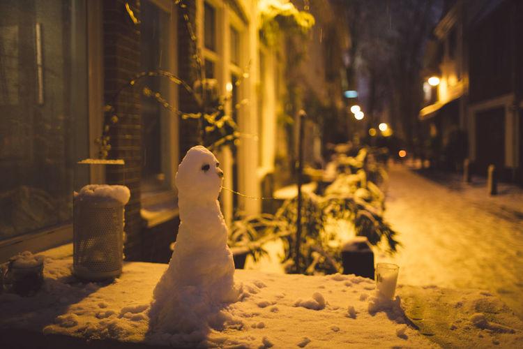 Close-Up Of Snowman At Night