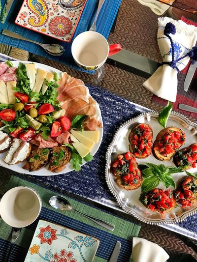 Food And Drink Indoors  Bowl Table Plate Coffee Cup Salad Food Healthy Eating Coffee - Drink High Angle View Freshness Ready-to-eat Variation Drink Meal No People Tea - Hot Drink Day