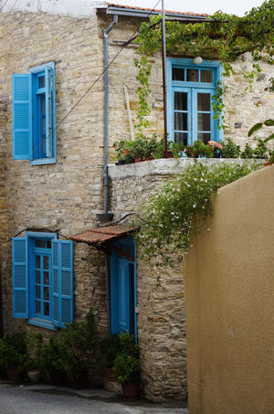 Architecture Blue Building Exterior Charming Cyprus House Lefkara No People Old Outdoors Plants Residential Building Shutters Stonewall Traditional; Travel Travel Photography Village Window