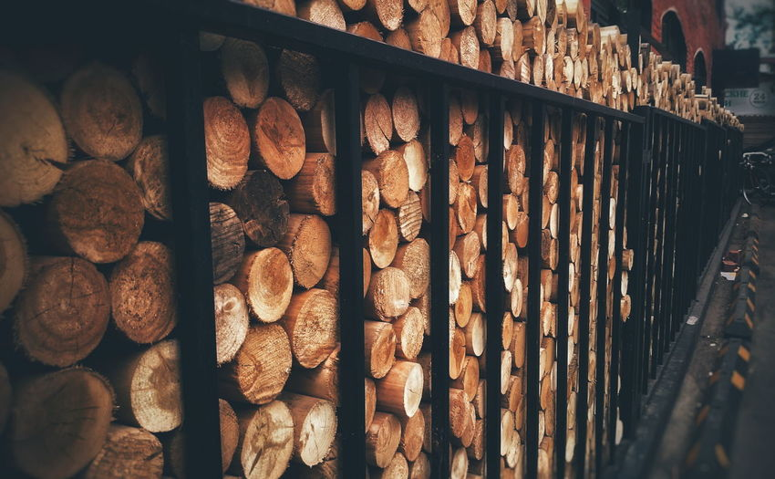 Stack Of Logs In Warehouse