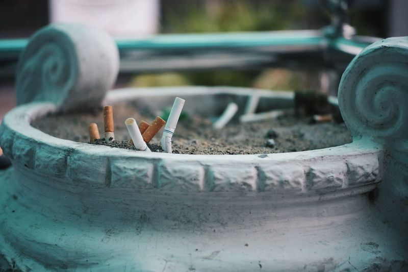 Cigarettes in stone container