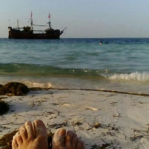 On The Way Adventure Club I love Relaxing On The Beach Sand while admiring the Departure of this Pirate Ship Boat Cruise Sailing Ship Ocean View Beach Two Is Better Than One The Great Outdoors - 2017 EyeEm Awards