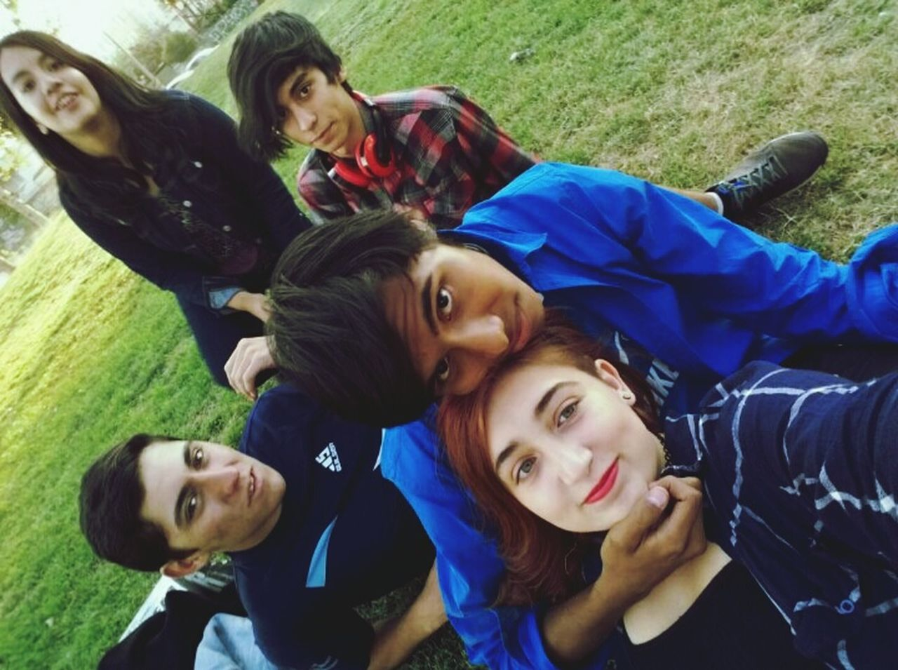 looking at camera, togetherness, portrait, young adult, leisure activity, young women, real people, casual clothing, smiling, day, outdoors, lying down, lifestyles, happiness, friendship, group of people, grass, beautiful woman, nature, tree, close-up, animal themes, people