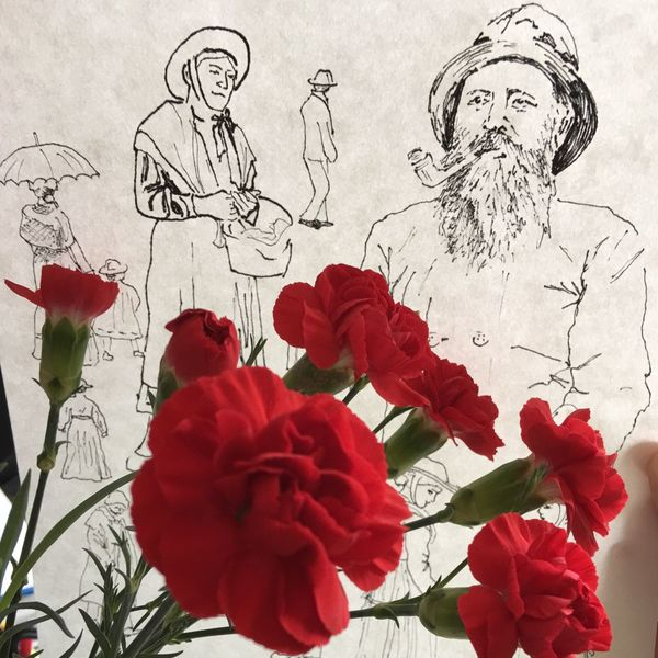 ArtWork Black-White-Red Fischer Marija Behrendt Nelken Sketch Detail Drawing Fisherman Flower Kiel Pipe Trachten Work Process