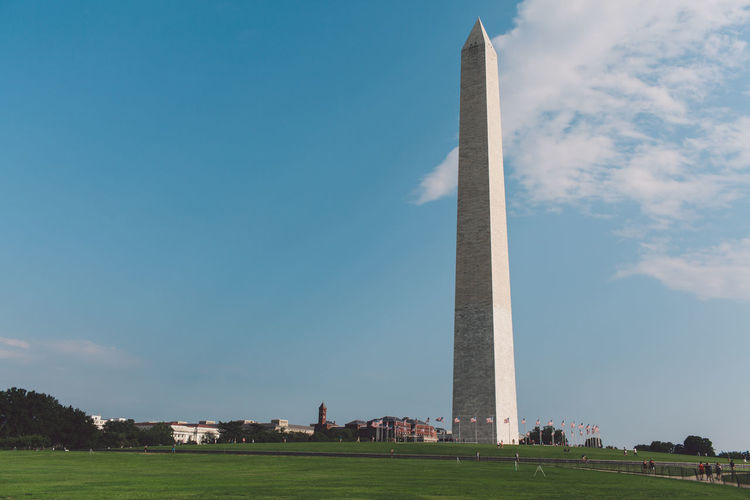Low angle view of monument against sky