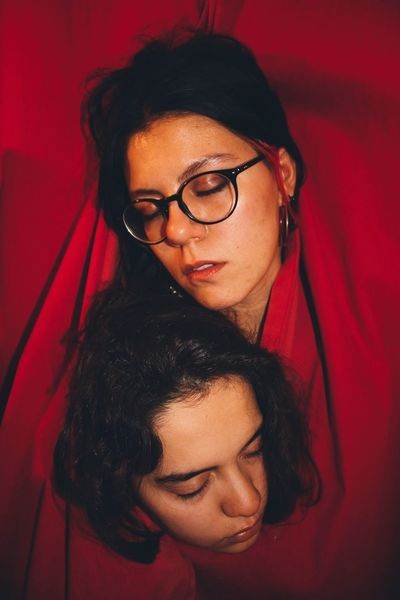 Red curtains. Old fashion Portrait Togetherness Two People Lifestyles Indoors  Real People Theater Eyeglasses  Young Adult Young Women People (null)Berlin The Portraitist - 2018 EyeEm Awards The Creative - 2018 EyeEm Awards