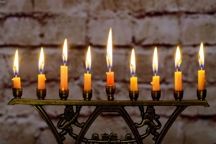 Colorful candles from a burning hanukkah candles in a menorah Hanukkiah Jewish Holiday Menorah Candle Hanukkah Menorah Jewish Judaic Shalom Celebration, Hanuka Judaica Judaism Religion Religious