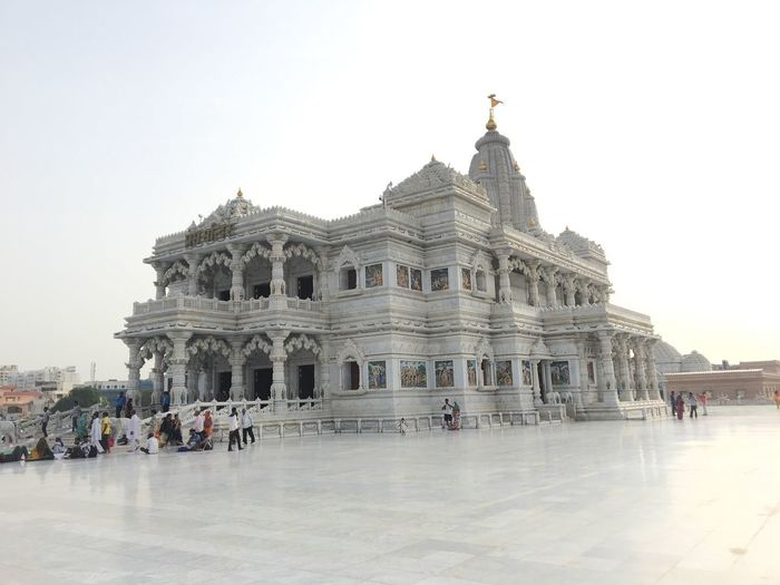 Prem Mandir Architecture Built Structure Building Exterior Sky Travel Destinations Tourism Clear Sky Crowd Group Of People Real People Belief Spirituality History Building The Past Religion Place Of Worship Travel Nature City