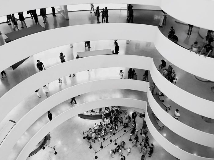 Large Group Of People High Angle View Architecture Built Structure Real People Steps And Staircases Women Tourism Solemn Museam Leisure Activity Men Activity Lifestyles Walking Modern Curve Mixed Age Range Fish-eye Lens Indoors  Crowd