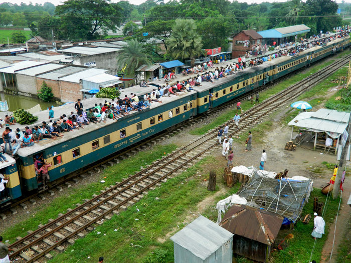 High angle view of crowd on passenger train