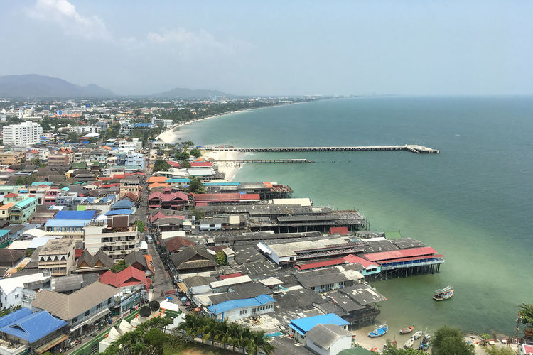Hua Hin , Thailand  Architecture Bay Building Building Exterior Built Structure City Cityscape Cruise Ship Day High Angle View Land Mode Of Transportation Nature Nautical Vessel No People Outdoors Residential District Sea Sky Transportation Water