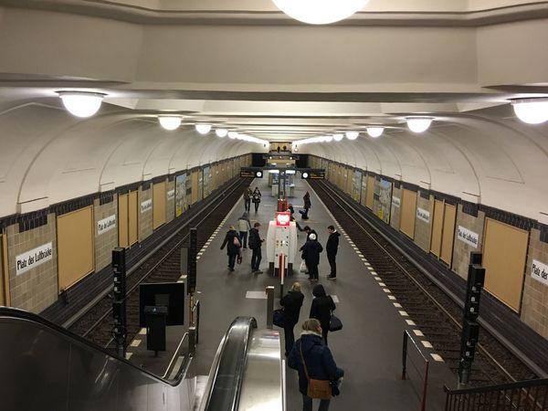 Looking Down Public Transportation Underground Perspective U-Bahn Platz Der Luftbrücke Urbanexploration My Berlin  Taking Photos Subway Station