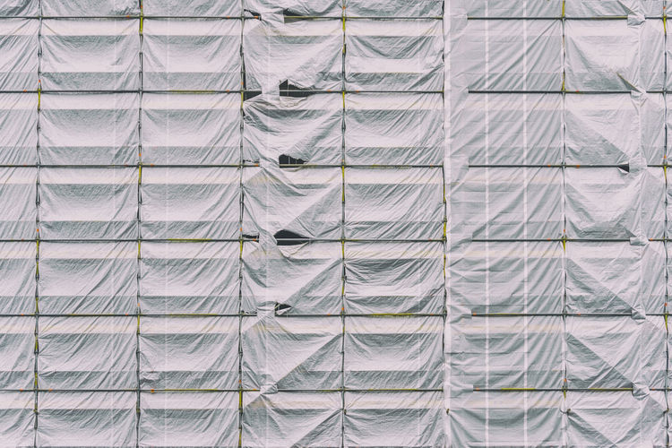 Protective white canvas covering construction site in Berlin, Germany Architecture Backgrounds Berlin Close-up Color Image Day Full Frame Germany🇩🇪 Horizontal No People Outdoors Pattern Photography Textured