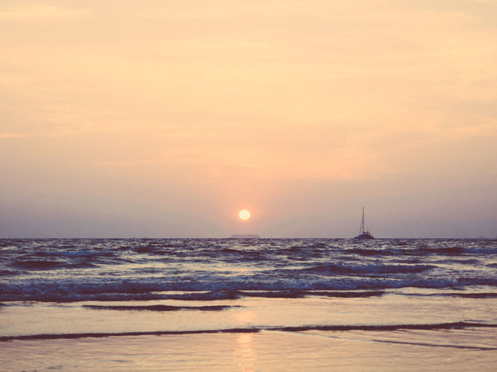 Sunset in Ko Lanta Beach Beauty In Nature Day Horizon Over Water Nature No People Outdoors Scenics Sea Sky Sun Sunset Thailand Tranquil Scene Tranquility Water