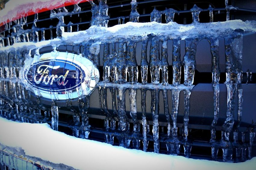 Ice Ford Dripping Bumper Grill No People Decal Emblem  Icicles Red Tough Diesel New Text Communication Outdoors Day Close-up