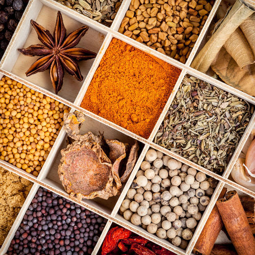 Full frame shot of various spices in container
