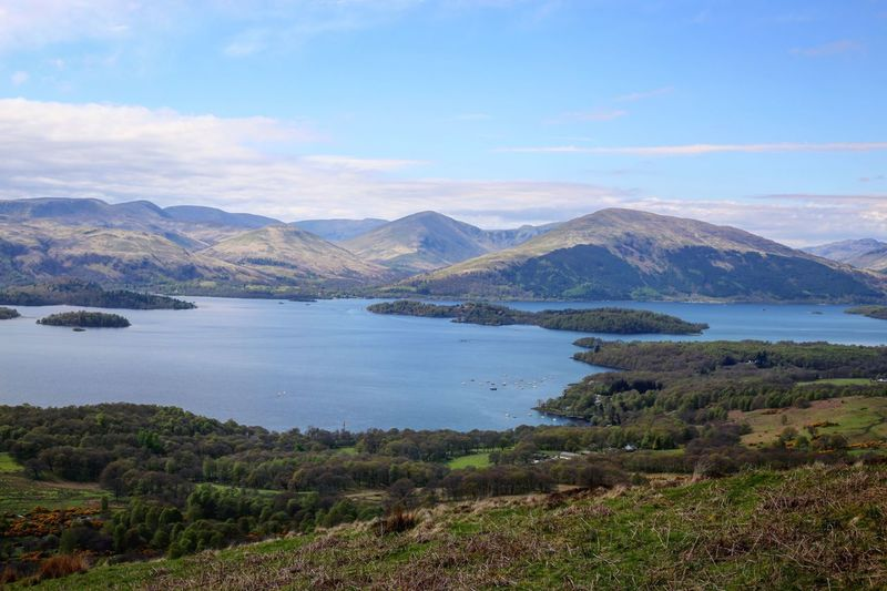 Scotland. Glen Loch  Loch Lomond Scottish Scotland Colourful Landscape Sun Water Mountain Tree Lake Sky Landscape Cloud - Sky Tranquil Scene Countryside Tranquility Non-urban Scene Remote British Culture