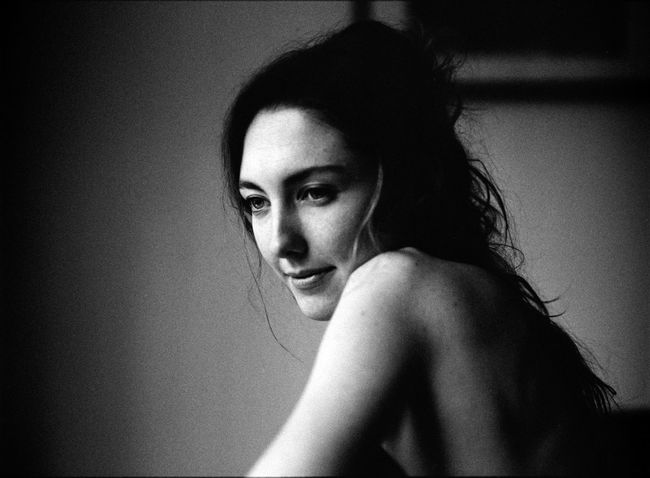 Adult Analog Beautiful Woman Beauty Blackandwhite Contemplation Depression - Sadness Hair Hairstyle Headshot Human Hair Indoors  Leisure Activity Lifestyles Looking At Camera Mediumformat One Person Portrait Real People Shirtless Vignette Women Young Adult Young Women