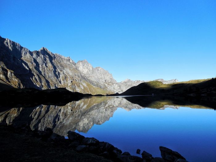Morningtime reflection Landscape_Collection Minimal Minimalism Landscape High Attitude  Morning Light Morning Reflection Lake Nature Water Tranquil Scene Blue Clear Sky Mountain Scenics Tranquility Outdoors No People Sky