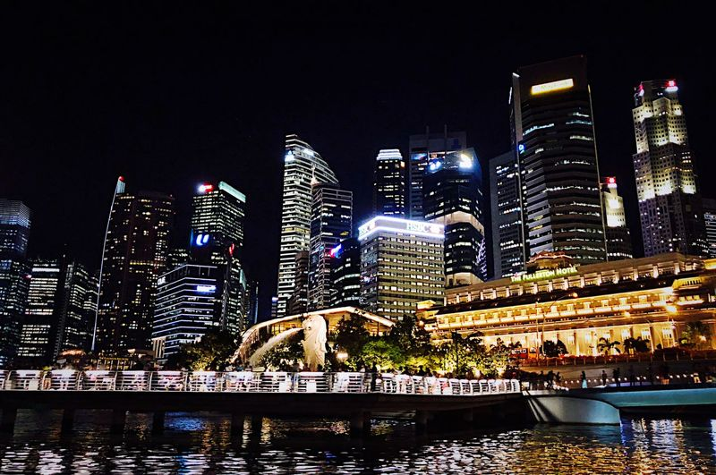 Singapore Building Exterior Night Architecture Illuminated Built Structure City Office Building Exterior Cityscape Skyscraper Water Modern Glowing Sky Building Tall - High Urban Skyline Landscape No People Office Financial District