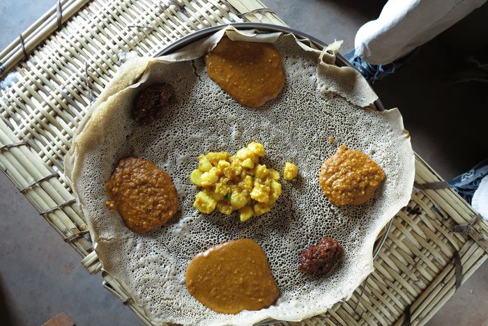 Typical ethiopian Food -injera Close-up Day Food Food And Drink Freshness Healthy Eating High Angle View Indoors  Injera No People