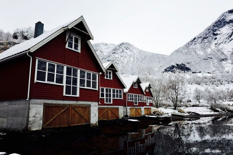 Flåm, NORWAY Snow Winter Cold Temperature Mountain Building Exterior Architecture Built Structure Weather House Clear Sky No People Day Outdoors Scenics Tree Nature Sky Beauty In Nature Norway Flåm