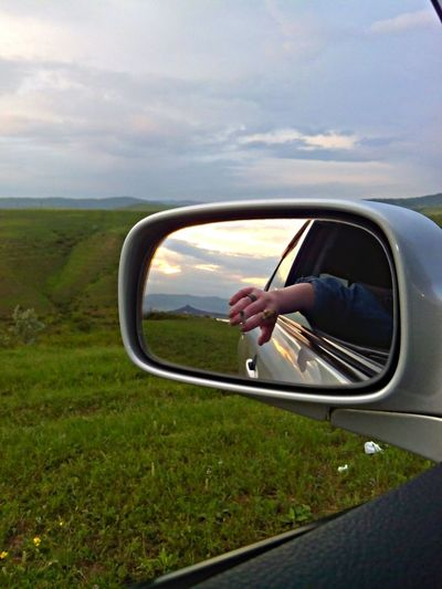 From Car In The Mirror Smoke Smoke Time Mountains Nature Today's Hot Look Hello World That's Me