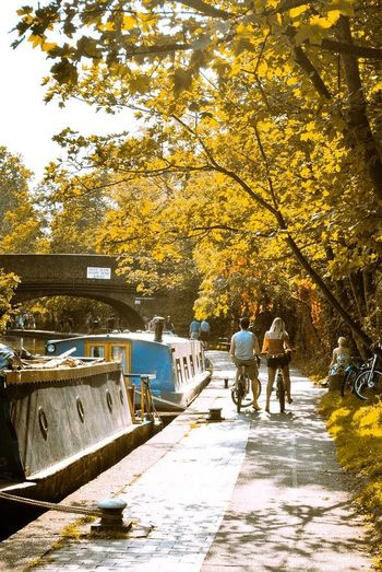 canal walk Photowalktheworld Canal Camden Town Tree Full Length Autumn Togetherness City Walking Leaf Fall Hiker Sidewalk Paving Stone Fallen Fire Hydrant Footpath