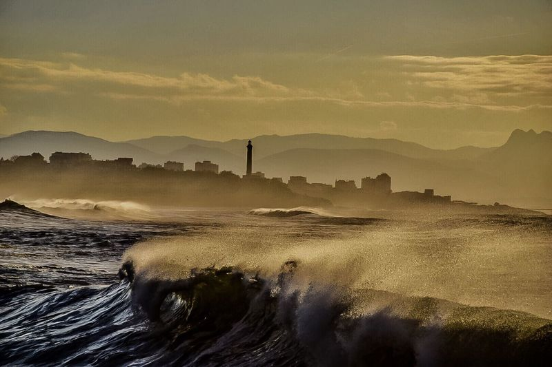 Sea Beauty In Nature Water Sunset Sky Wave Scenics Winter Ocean Nikonphotography Landscape Nikon Euskadi Pays Basque Surf