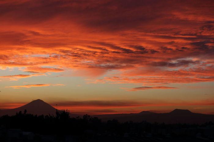 Sunrise Volcanoes #volcano #teuhtli #popocatepetl #mexico #amanecer #Sunrise #Morning Sunset Dramatic Sky Mountain Orange Color Silhouette Landscape Cloud - Sky