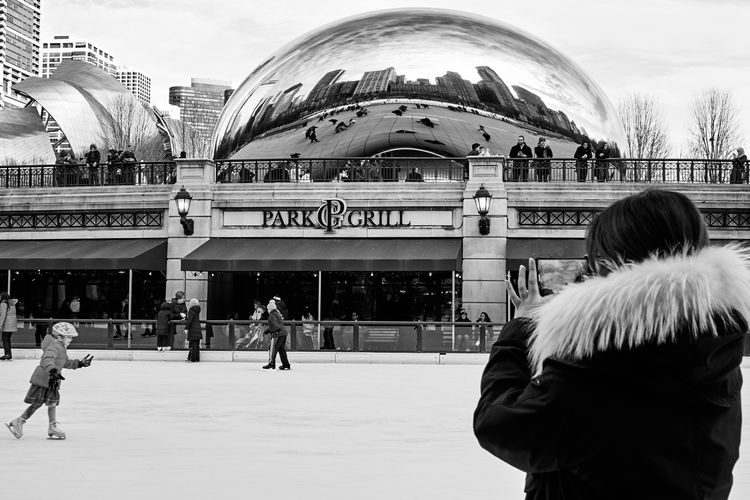 Black And White Chicago City Life Daily Life Ice Skating Leisure Activity Lifestyles Millennium Park Real People Urban Lifestyle Winter Fun
