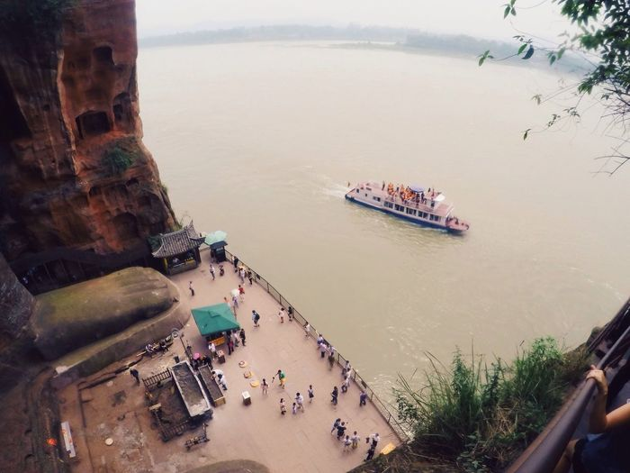 High Angle View Of Tour Boat In Lake