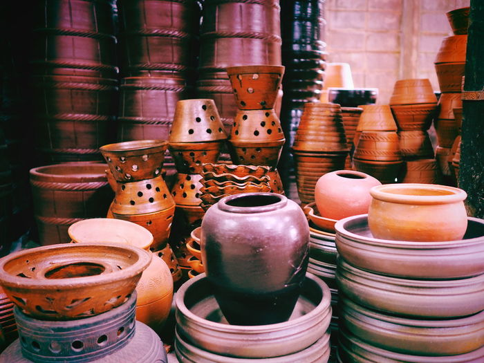 Ancient pottery It actually works Sold in Thailand Ancient Abundance Arrangement Art And Craft Ceramics Choice Close-up Collection Container Craft Day For Sale Handmade Indoors  Large Group Of Objects Market No People Old Olden Retail  Retail Display Small Business Still Life Variation Vintage