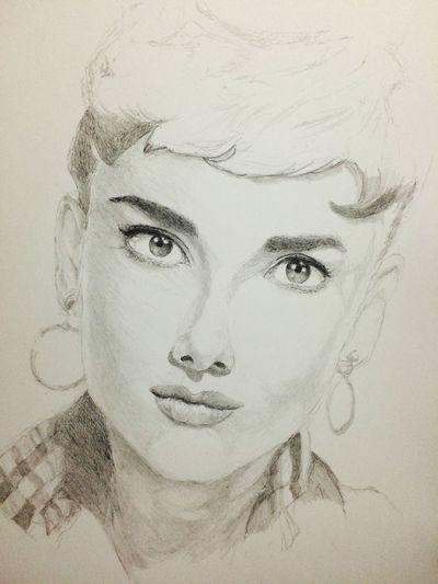 Drawing ArtWork Audrey Hepburn Hello World Art, Drawing, Creativity MyDrawing オードリー オードリーヘップバーン