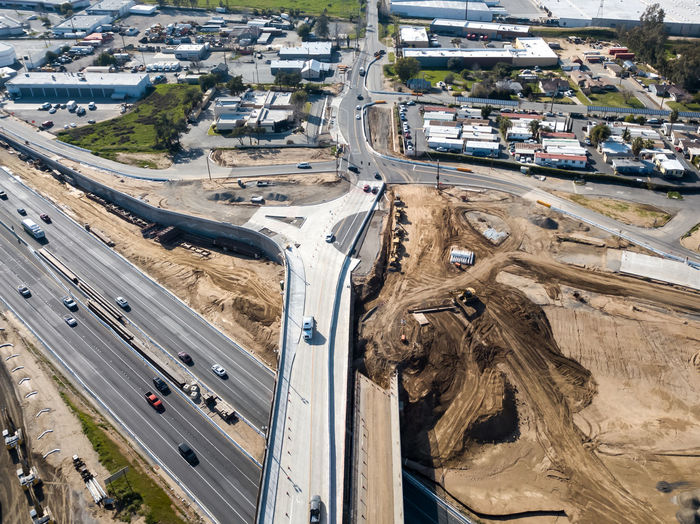 Grand Terrace, CA / USA - 2/24/2019: Aerial view of the Barton Road / 215 Interchange Under Construction Transportation High Angle View Road Architecture Motor Vehicle Mode Of Transportation Car City Aerial View Day Built Structure Highway Street Nature Multiple Lane Highway No People Outdoors Building Exterior Connection Overpass Freeway Construction Infrastructure
