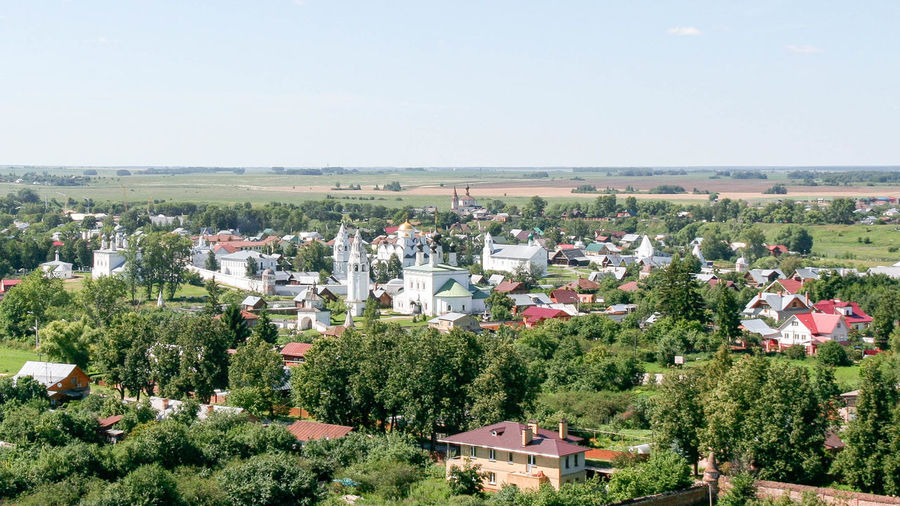 View of the Intercession Monastery from the bell tower Russia. Suzdal Architecture City Cityscape Cityscape Golden Ring Landmark Monastery Nature Orthodox Outdoors Panorama Russia Summer Suzdal Travel View Golden Ring Of Russia