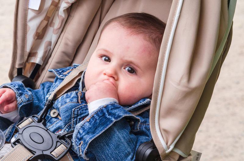 Portrait of baby in stroller